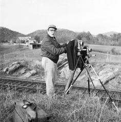 Link Sets Up Two 4 x 5's At Bridge 8. Watauga, Virginia.  November 1957.