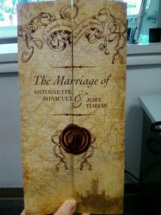 Introduce your Harry Potter wedding theme with a Marauder's Map invitation.   Image:Pinterest