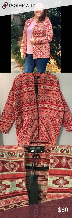 Red Aztec Print Kimono by William Rast 🔹Red Aztec Kimono by William Rast                   🔹size M.                                                                 🔹NWT🔖retails for $119.50.                                 🔹70% polyester, 30% cotton.                                 🔹Stunning red Aztec print Kimono is made of thicker material so it's perfect for chilly nights. Wear with knee high boots and bright blue jewelry to make the blue/green undertones stand out William Rast Other