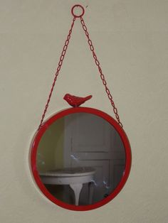 Vintage Red Enamel Round Wall MIRROR on Chain with Figural Bird Feature on Top
