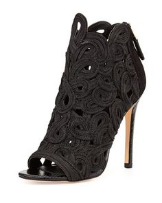 Lenni Embroidered Ankle Bootie, Black at CUSP.