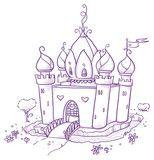 Vektor: Cute romantic flower princess or magic fairy castle. Hand drawn vector cartoon doodle illustration