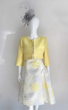 c826221152a11d Ella Boo 2289, Lemon embossed print High-Low Dress with Matching Fitted  Jacket available
