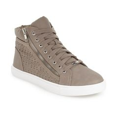 """Steve Madden 'Eiris' Sneaker, 1"""" heel (1,475 MXN) ❤ liked on Polyvore featuring shoes, sneakers, grey, high top sneakers, high top shoes, grey high top sneakers, lace up high top sneakers and vegan shoes"""