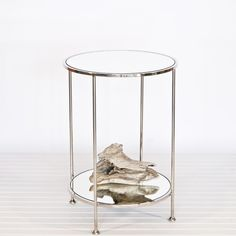 Chico small 2 Tier Nickel Plate Side Table with Mirror Top by Worlds Away
