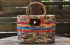 Adding Purse Feet to Color Crazy Tote Bags Crazy Colour, To Color, Crochet Handbags, Crochet Purses, Confetti Bags, Rag Rug Tutorial, Locker Hooking, Loom Knitting Projects, Latch Hook Rugs