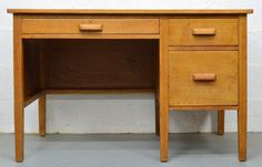 Mid Century 1960s Solid Oak Desk