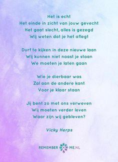 Het gedicht 'Naar De Hospice' over het afscheid, het verdriet en het gemis na de dood van een geliefde. Lees meer op: http://www.rememberme.nl/gedichten-over-rouw-en-verlies/