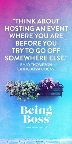 """""""Think about hosting an event where you are before you try to go off somewhere else."""" -Emily Thompson   Hosting Offline Events for creative entrepreneurs & business owners   Being Boss Podcast https://beingboss.club/podcast/episode-122-hosting-offline-events?utm campaign=coschedule&utm source=pinterest&utm medium=Being%20Boss%20Podcast&utm content=Episode%20%23122%20%2F%2F%20Hosting%20Offline%20Events #followback #entrepreneur #onlinebusiness"""