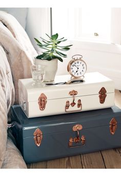 Two Metal Trunks - Blush  Grey - Bedroom Accessories - Bed  Bath - Indoor Living