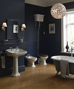 This strong, bold suite takes its style cues from 1920's Art Deco with its sculptured angularity exuding Edwardian grandeur. Priced from £1,135  www.heritagebathrooms.com