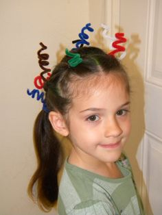 crazy hair day idea -without ratted knots or colored hairspray :)