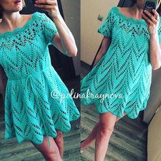 Вязанное крючком платье