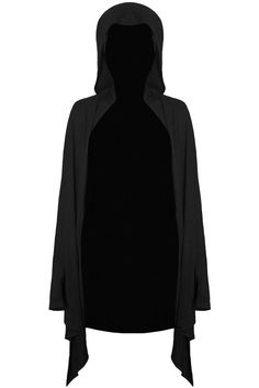 RAIDER. A master of the craft. - Smooth Jersey Fabric.- Over-Sized 'Pixie'-Hood.- Relaxed Fit.- UNISEX Versatile thin hooded cardigan/cloak with large hood, mak