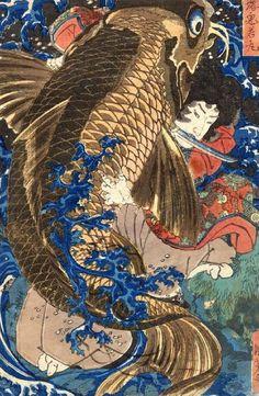 From Ronin Gallery, Utagawa Kuniyoshi, Oniwaka-maru and Giant Carp (ca. Japanese woodblock print, 14 × 10 in Japanese Artwork, Japanese Painting, Japanese Prints, Art And Illustration, Folklore Japonais, Art Japonais, Grand Art, Carpe Koi, Art Asiatique