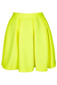 Fluro Yellow Pleated Skirt