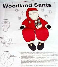 Christmas Woodland Santa Doll Pattern Fabric Panel Decoration Christmas Fabric Supply Cranston Village Collection Craft Supply - pinned by pin4etsy.com