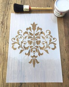 Vintage Damask Fleure de Lys Flower Stencil 125 or 190 thickness film
