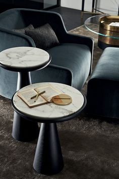 Fante, wood adn marble, coffee table, side table.