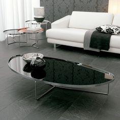 Cattelan Italia Mesa de centro Billy Diseño Studio Kronos. Mesita de centro con sobre en cristal pintado o reflejado. Base en acero cromado y marco en latón...