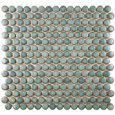 "EliteTile Penny 0.8"" x 0.8"" Porcelain Mosaic Tile in Marine & Reviews | Wayfair"