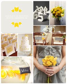 Grey and Yellow Wedding Inspiration Board by papersnaps.com