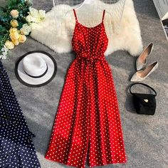 Womens Jumpsuit Holiday Retro Dot Print V Collar Sleeveless Wide Leg Jumpsuit High Waist Overalls Beach Rompers Cute Dresses, Casual Dresses, Summer Dresses, Mini Dresses, Cute Casual Outfits, Ball Dresses, Rompers Women, Jumpsuits For Women, Dress Outfits