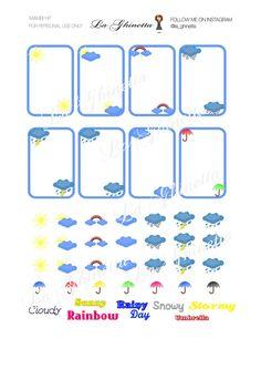 printable WEATHER sticker mix #1 -Digital File Instant Download - planner girl, Mambi, happy planner, Weather, sun, rain, umbrella di LaGhinetta su Etsy