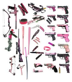 """Pink Weapons"" by gone-girl ❤ liked on Polyvore featuring Louisville Slugger, Zone, Handle, RIFLE, Bullet, Whetstone Cutlery and Hello Kitty"
