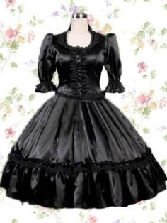 Black Half Sleeves Round Neck Ruffle Cotton Classic Lolita Dress