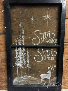 Let me show you this super simple way to draw our a design (and change your mind) without ruining your piece. Painting on screens is easy, take a look christmas window Window Screen Crafts, Painted Window Screens, Painting On Screens, Painting On Windows, Old Screen Windows, Painted Window Art, Window Paint, Christmas Wood, Christmas Signs
