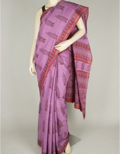 Hand Block Print Mulmul Cotton Saree without Blouse-1111