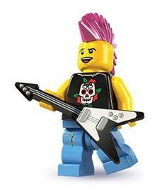 LEGO Minifigures Series 4 Punk Rocker COLLECTIBLE Figure electric guitar rocking up a storm