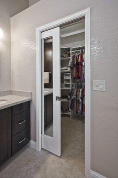 Love the closet pocket door idea.