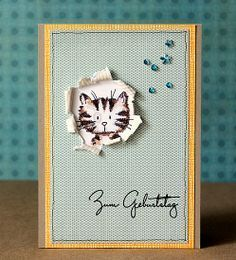 Cat card - cool idea wth the window Dog Cards, Kids Cards, Aniversario Star Wars, Tarjetas Diy, Ideias Diy, Card Sketches, Card Tags, Paper Cards, Creative Cards