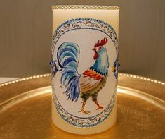 LED Pillar Candle With Roosters by DontForgetTheFlowers on Etsy Flickering Lights, Flameless Candles, Pillar Candles, Wrapping Paper Bows, Gift Wrapping, Rooster Decor, Roosters, Beautiful Paintings, Have A Great Day