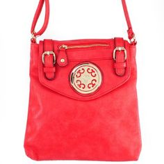 """Click Here and Buy it On Amazon.com $29.99 Amazon.com: New Arrival """"Designer Inspired"""" Unique Zipper and Buckle Detailed Solid Messanger Bag / Crossbody Bag in Red: Clothing"""
