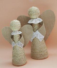 DIY Ángeles de cuerda y arpillera