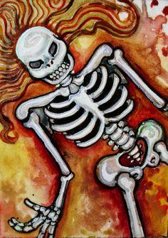 Lisa Luree art Original Day of the Dead FURY SKELETON ooak painting ACEO muertos