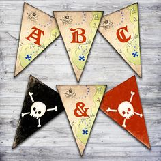 This printable pirate banner is perfect for any pirate party!  Just download and print.  Includes letters A-Z, # 0-9, &, 's, plus 2 image spacers!  #birthdayparty #partyideas