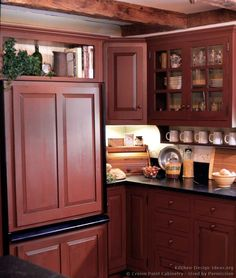 Rustic Country Kitchen with Red Cabinets  (Crown-Point.com, Kitchen-Design-Ideas.org)