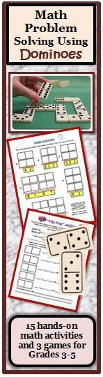 This math resource uses dominoes as a manipulative. Some of the domino activities use games while the other activities extend, enhance, or introduce a new math concept. The activities include four digit place value, using the commutative property, problem solving, reducing proper and improper fractions and practicing multiplication and division facts. The games involve finding sums, using greater than, less than, and equal signs and ordering fractions. Fun Math, Math Games, Math Activities, Math Class, Activity Centers, Math Centers, Improper Fractions, Fifth Grade, Grade 3