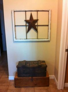 Old window frame and star with old suitcases I've got all of this stuff!