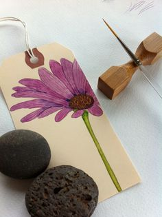 Shipping Tag with a Daisy.
