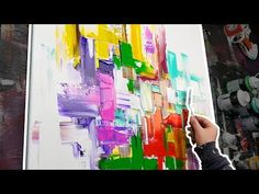Abstract Painting with Rubber Squeegee and Palette Knife | Lake Of Fire - YouTube