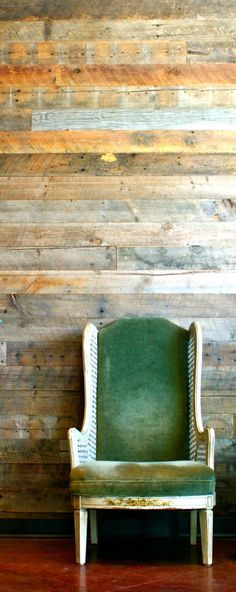 Reclaimed Wood Wall Example - More rustic look - Pallet Wood?  Use for feature wall on one side of stairway.