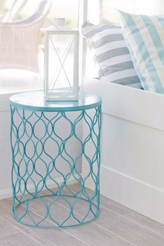 Cool Turquoise Room Decor Ideas - Turqouise Side Table - Fun Aqua Decorating Looks and Color for Teen Bedroom, Bathroom, Accent Walls and Home Decor - Fun Crafts and Wall Art for Your Room http://diyprojectsforteens.com/turquoise-room-decor-ideas