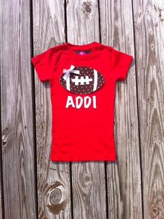 Girls Game Day Football Shirt with Name. by EverythingSorella, $27.50