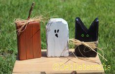 Rustic Halloween blocks Halloween decor black cat Wooden ghost