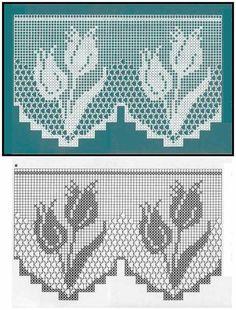 Afbeeldingsresultaat voor cortinas tejidas a crochet Filet Crochet Charts, Crochet Borders, Crochet Motif, Crochet Designs, Crochet Doilies, Knit Crochet, Doily Patterns, Cross Stitch Patterns, Crochet Patterns